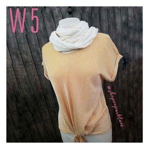 Anthro W5 Textured Tie Front Tee, Yellow, Medium